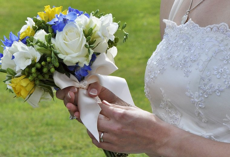 Blue, yellow and ivory bridal bouquet