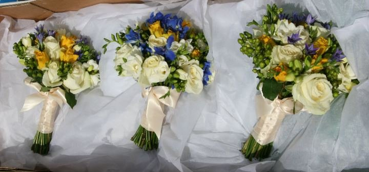 Blue and yellow bridal posy