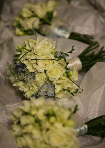 Baby blue bridal bouquet