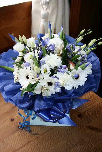 Posy of Blue and white mixed flowers