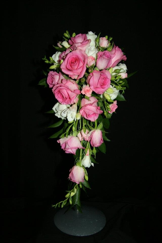traditional shower bouquet in pink
