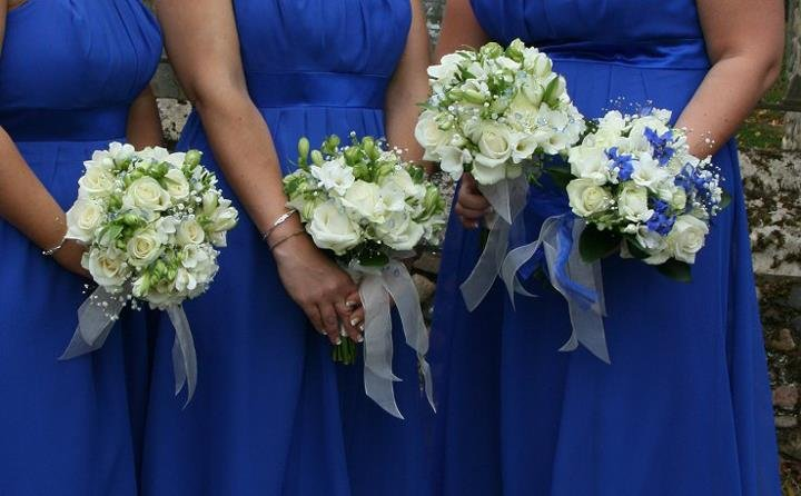 Blue bridesmaid flowers
