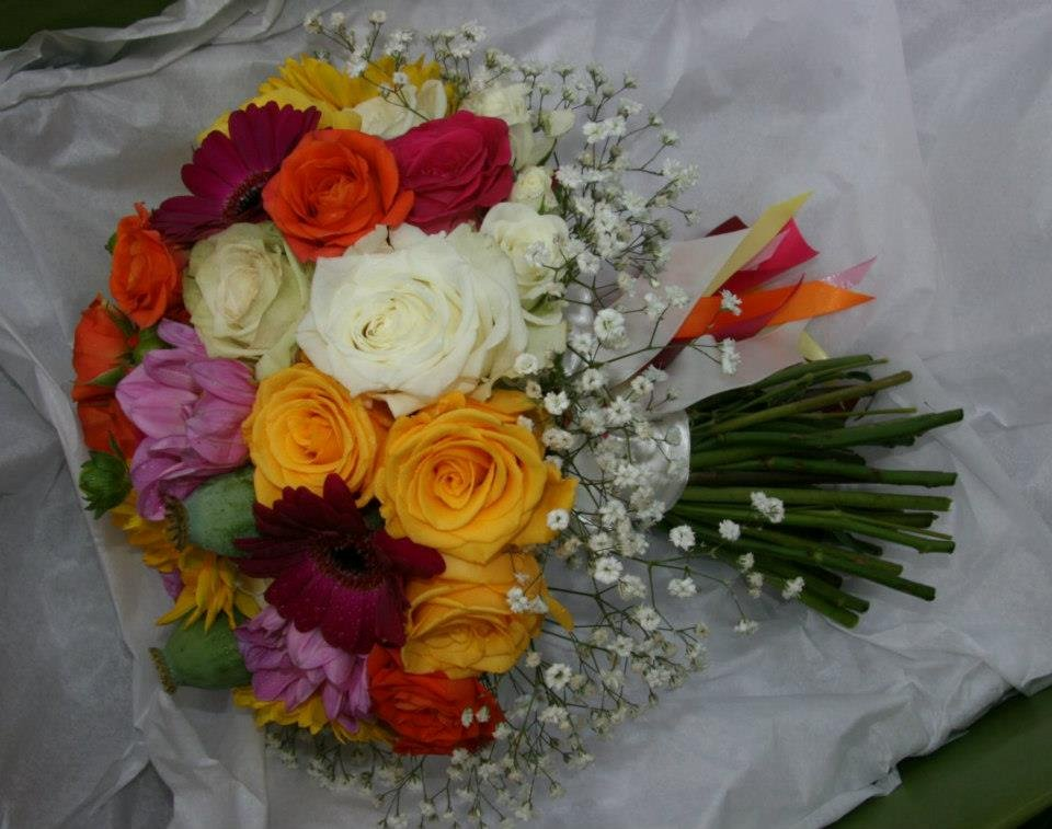 Multi coloured bridal posy bouquet