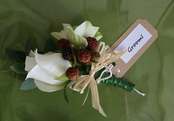 Wedding buttonhole with blackberries!