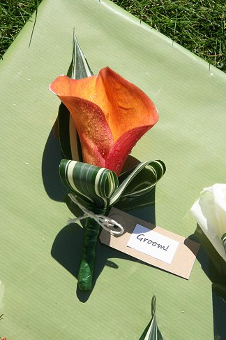 Cala lily grooms buttonhole