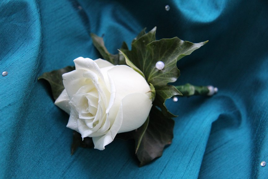 Rose buttonhole with pearl