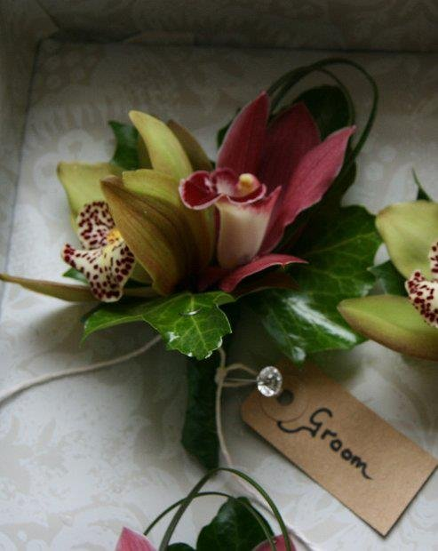 Orchid buttonhole for groom
