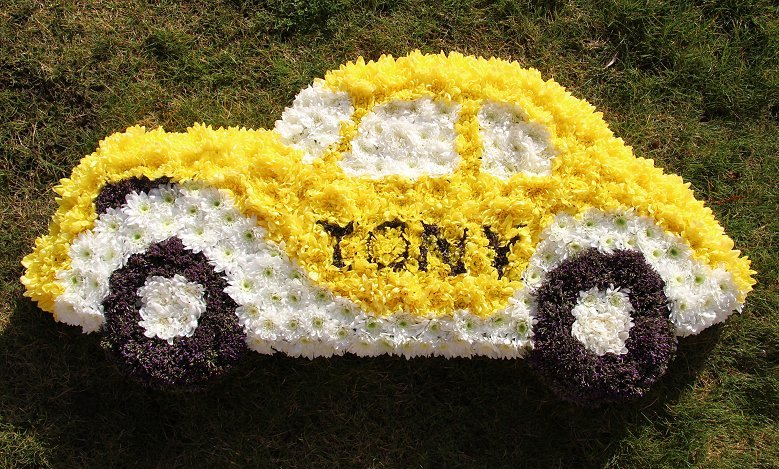 Sympathy Wreath in shape of car