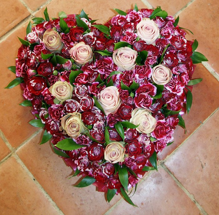 Heart shape burgundy sympathy wreath