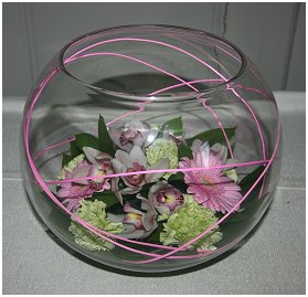 Fishbowl filled with flowers