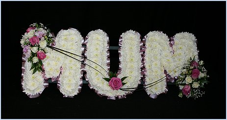 MUM wreath/tribute in white and pink