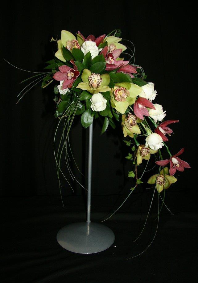 Orchid bridal crescent bouquet