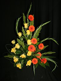 Contemporary ornage gerbra and yellow roses