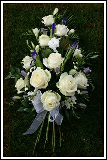 Fresh Rose, Iris and Fresia Sympathy Tribute