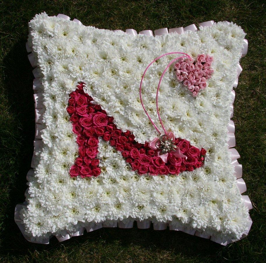 Unique design of ladies shoe on sympathy wreath