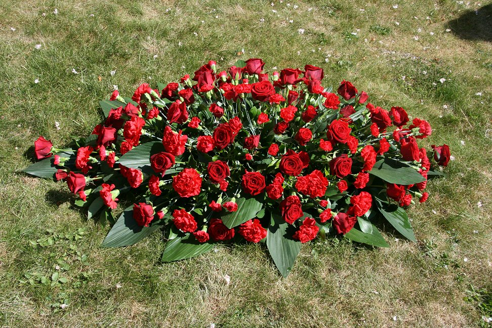 Red rose and carnation coffin tribute flowers