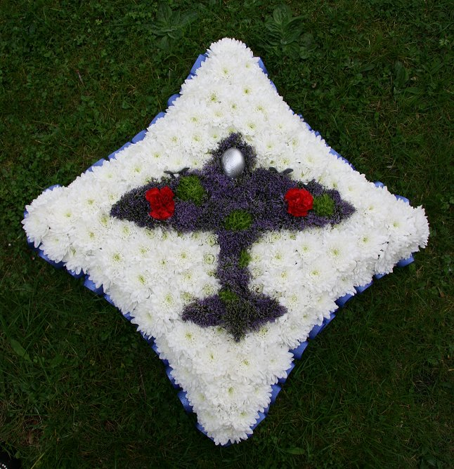 Sympathy wreath in shape of aeroplane