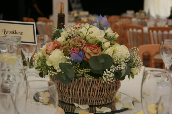 Summer flowers for wedding centre piece, private marquee