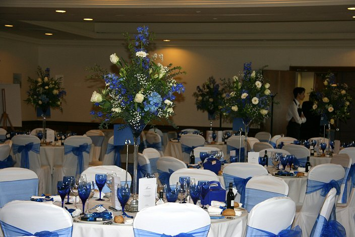 Blue Wedding flowers, The Belfry Hotel, Cambourne