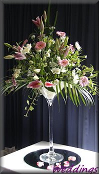 Table Centrepiece for Wedding in oversized cocktail glass