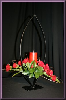 Contemporary Christmas Flower Decoration with candle