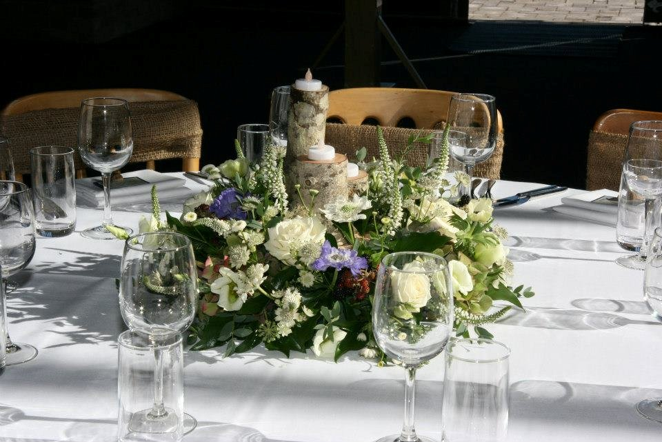 Country theme table centrepiece with blackberries